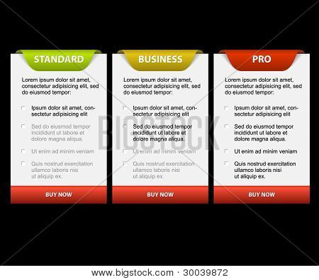 Vector Product versions comparison cards - with description