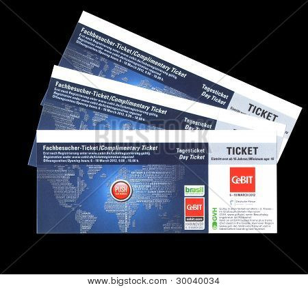 HANNOVER GERMANY - MARCH 6-10 2012:The day complimentary ticket for CEBIT computer expo Hannover