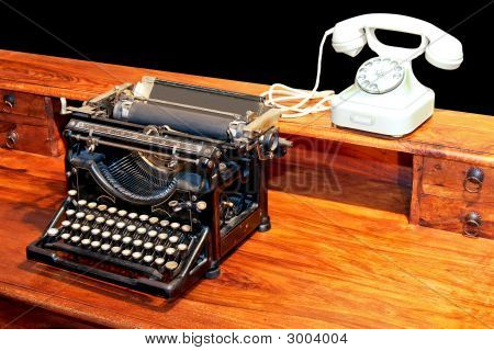 Typewriter And Phone