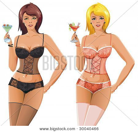 Two Beautiful young woman in lingerie. Clipart vector illustration.