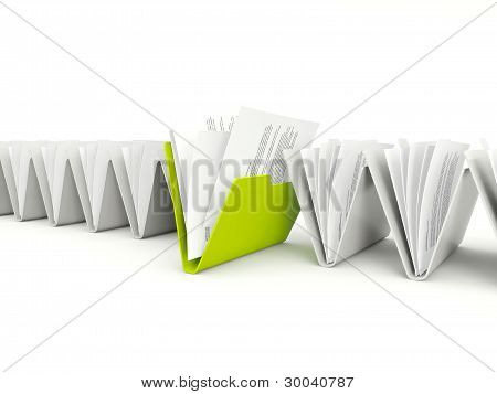 Row of folders with different green one