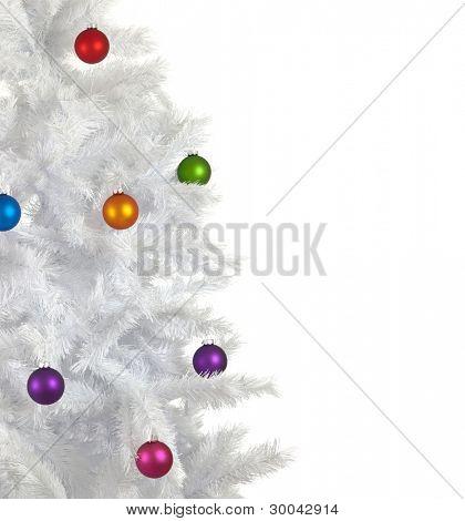 bunte Weihnachten Kugeln, Kugeln oder Ornamente auf einem weißen Weihnachtsbaum