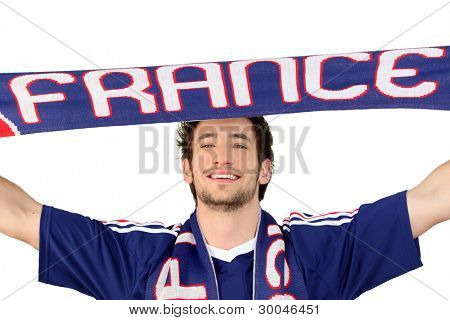 French soccer fan waving scarf