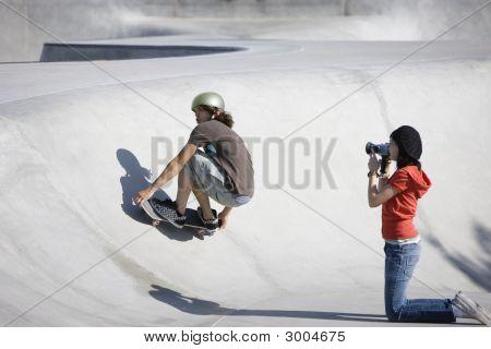 Videotaping Skateboard Action