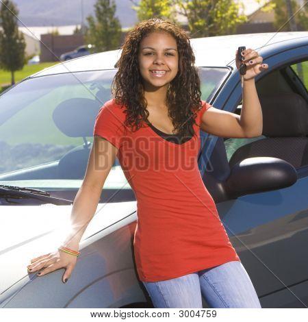 Happy Teen With Keys To Car