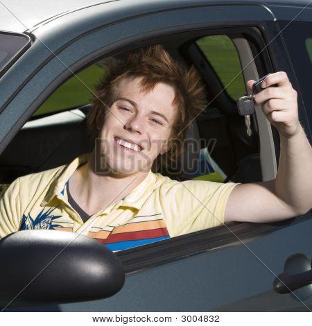Happy Teen In Car
