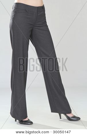women's trousers of gray in the strict style