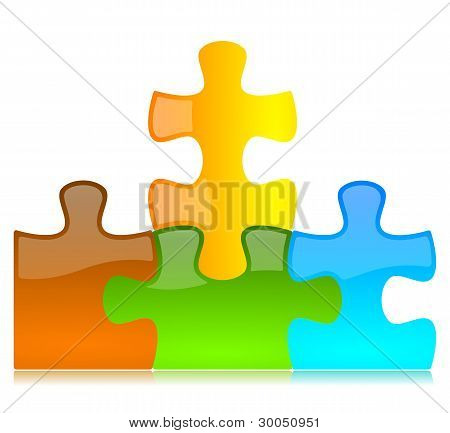 Colored Puzzle Pieces