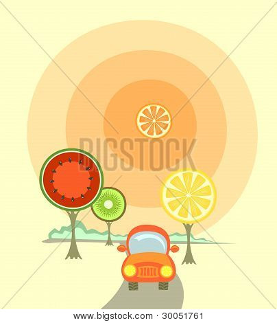 A Car And Fruit-like Trees