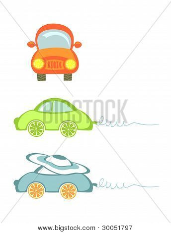 A Set Of Little Cars. Isolated On White.