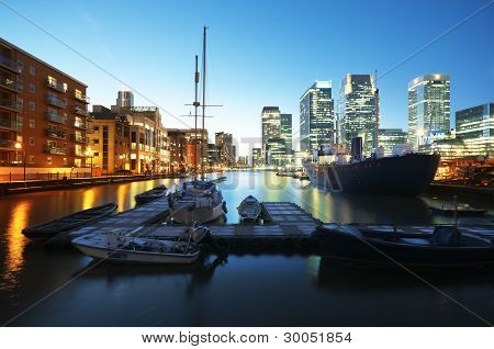 Canary Wharf at night, London - England