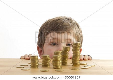 Boy Looking At Money