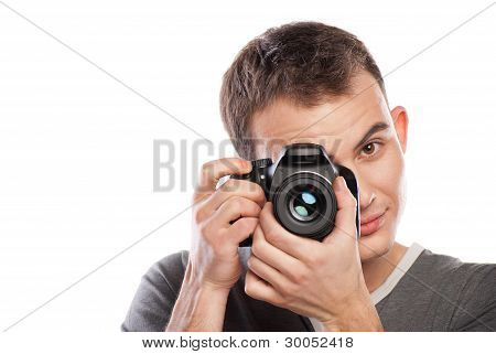 male photographer with camera isolated on white