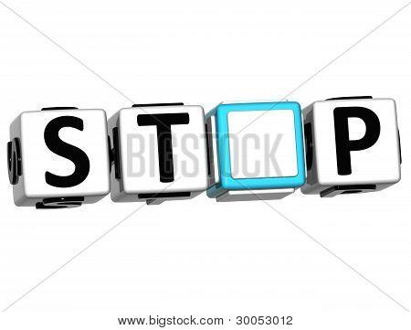 3D Stop Block Text