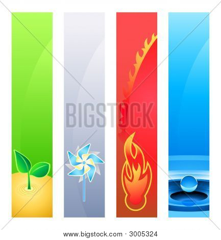 4 Nature Element Banner Backgrounds