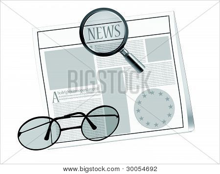 Zeitung und Gläser