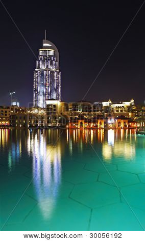 DUBAI, UAE - JANUARY 1: The Address Hotel in the downtown Dubai area overlooks the famous dancing fountains, taken on January 01, 2012 in Dubai. The hotel is surrounded by a mall, hotels and Burj Khalifa