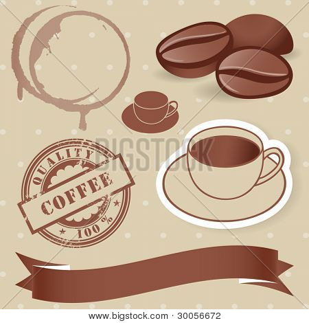 Vector set of vintage coffee elements: bean, rubber stamp, cup, banner.