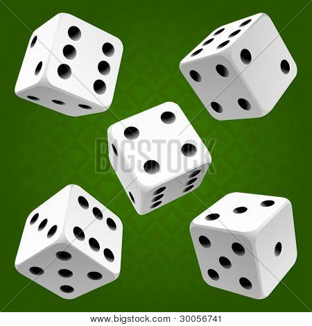 Vector white dice set on green background of cards colour