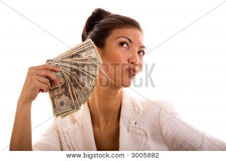 Lucky Winner Holding Cash