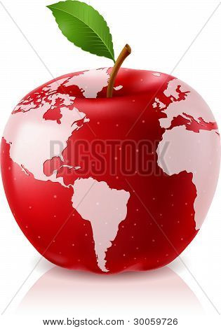 Red Apple World Map