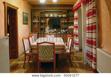 Interior Of A Room With Chairs For Eating