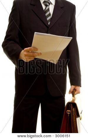 Businessman Preparing For His Presentation