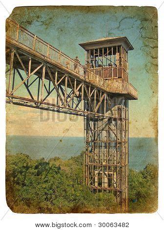 Metal Construction - Lift. Old Postcard.