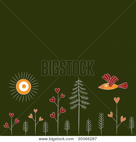 Cartoon seamless pattern with bird and trees