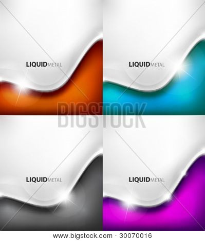 Color background set of flowing liquid metal