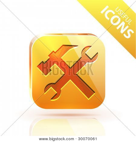Orange yellow metal glossy button with repair icon
