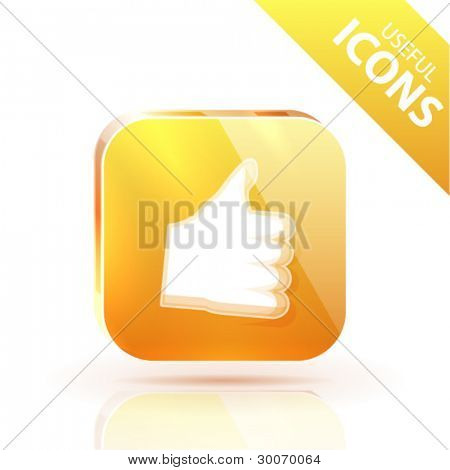 Orange yellow metal glossy button with rating up icon
