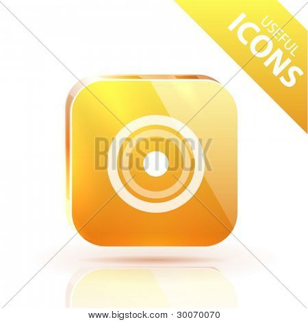 Orange yellow metal glossy button with place pointer icon