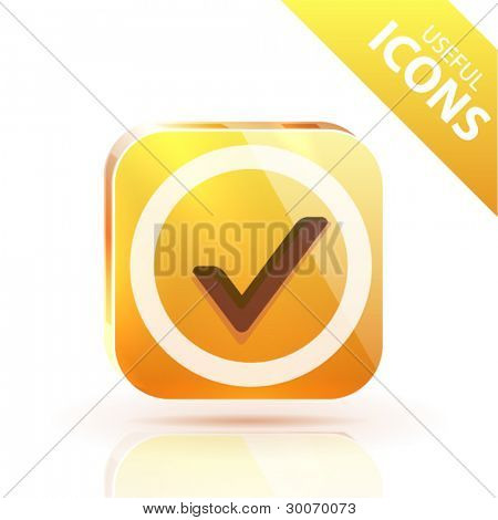 Orange yellow metal glossy button with tick icon