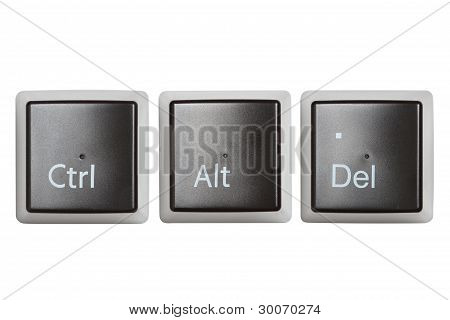 Ctrl, Alt, Del Keyboard Keys Isolated On White