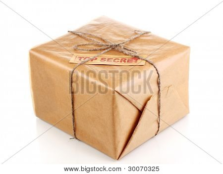 Parcel with top secret stamp isolated on white