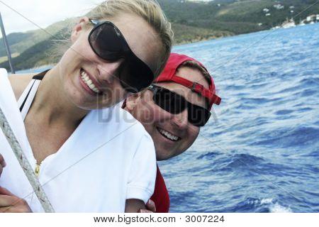 Happy Couple On Honeymoon