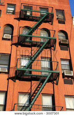 New York Fire Escape On Red Brick Building