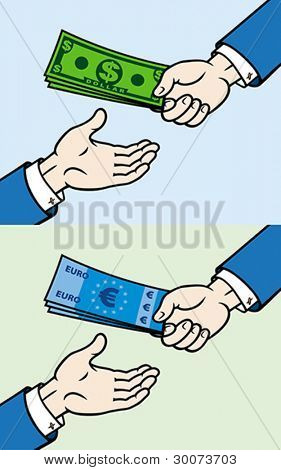 Hand, giving money to other hand. Vector format EPS 8, CMYK.