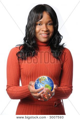 Woman Holding Glowing Earth