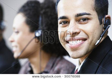 Portrait of businessman with earpiece
