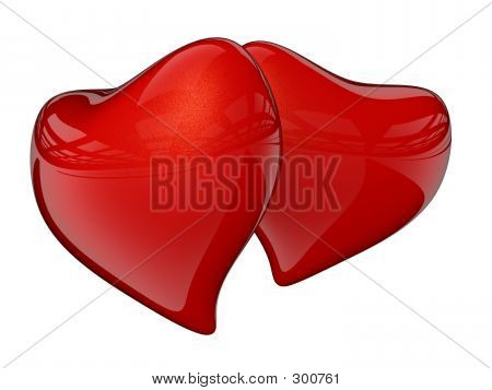Two Red Hearts With Reflection