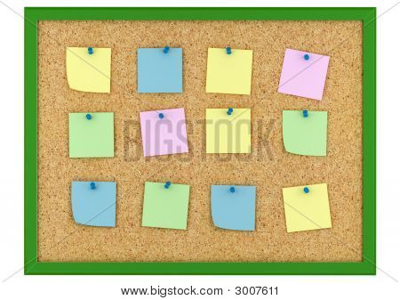 Cork Board And Note Paper