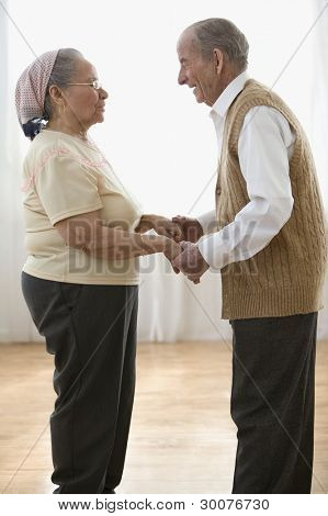 Side view of elderly couple