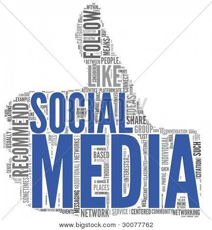 Social media concept in tag cloud of thumb up shape isolated on white background