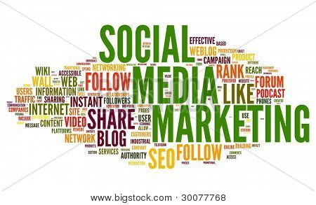 Social media marketing concept in word tag cloud on white background