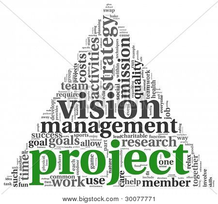 Project and vision concept in word tag cloud on white background