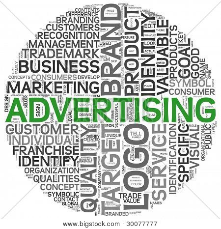 Advertising concept in word tag cloud on white background