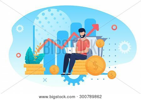 poster of Investment And Analysis Money Cash Profits Metaphor. Freelancer, Employee Or Manager Making Investin