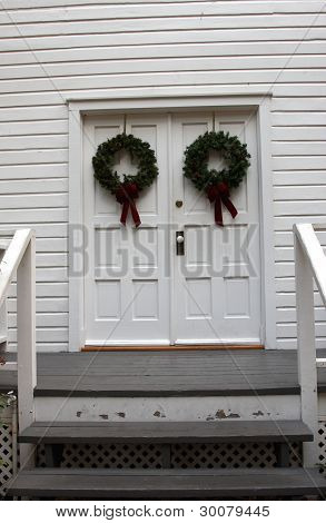 Christams Decorations On A Door